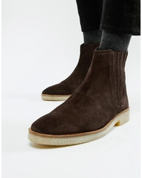Bottines chelsea en daim marron foncé ASOS DESIGN