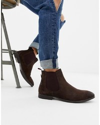 Bottines chelsea en daim marron foncé Ben Sherman