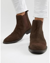 Bottines chelsea en daim marron foncé Dune