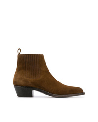 Bottines chelsea en daim marron foncé Saint Laurent
