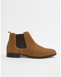 Bottines chelsea en daim marron Pier One