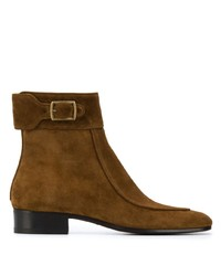 Bottines chelsea en daim marron Saint Laurent