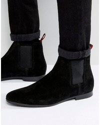 Bottines chelsea en daim noires Hugo Boss