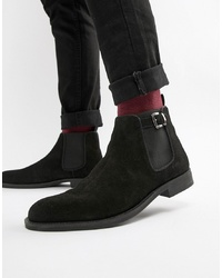 Bottines chelsea en daim noires Pier One
