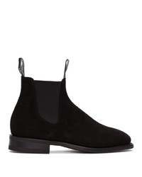 Bottines chelsea en daim noires R.M. Williams