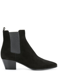 Bottines chelsea en daim noires Saint Laurent