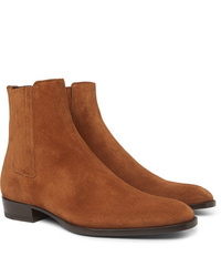 Bottines chelsea en daim tabac Saint Laurent