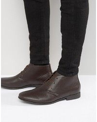 Bottines chukka en cuir marron foncé ASOS DESIGN