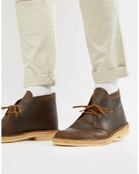 Bottines chukka en cuir marron foncé Clarks Originals
