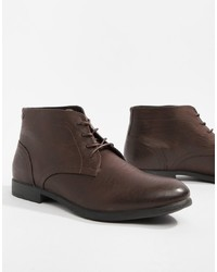 Bottines chukka en cuir marron foncé Jack & Jones