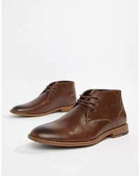 Bottines chukka en cuir marron foncé New Look