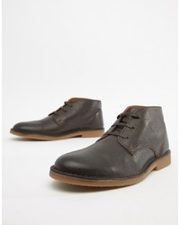 Bottines chukka en cuir marron foncé Selected Homme