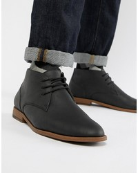 Bottines chukka en cuir noires New Look