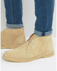 Bottines chukka en daim beiges Dune