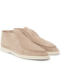 Bottines chukka en daim beiges Loro Piana