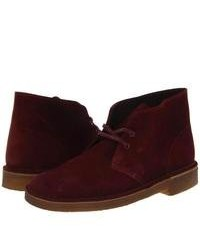 Bottines chukka en daim bordeaux