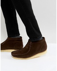 Bottines chukka en daim marron foncé Clarks Originals