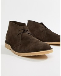 Bottines chukka en daim marron foncé Pier One
