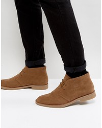 Bottines chukka en daim marron New Look