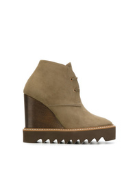 Bottines compensées en daim olive Stella McCartney