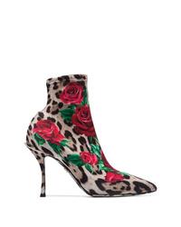 Bottines élastiques imprimées léopard multicolores Dolce & Gabbana