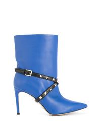Bottines en cuir à clous bleues Valentino
