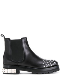 Bottines en cuir à clous noires Alexander McQueen