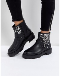 Bottines en cuir à clous noires ASOS DESIGN