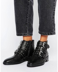 Bottines en cuir à clous noires Asos