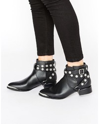 Bottines en cuir à clous noires Senso