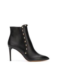 Bottines en cuir à clous noires Valentino