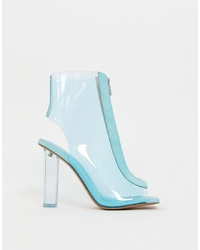 Bottines en cuir bleu clair ASOS DESIGN
