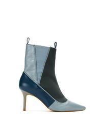 Bottines en cuir bleu clair Sarah Chofakian