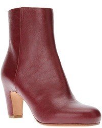 Bottines en cuir bordeaux
