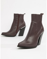 Bottines en cuir bordeaux ASOS DESIGN