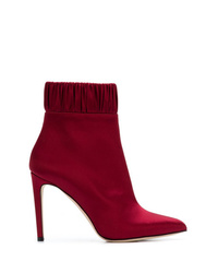 Bottines en cuir bordeaux Chloe Gosselin