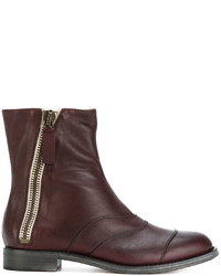 Bottines en cuir bordeaux Chloé