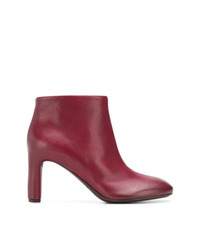 Bottines en cuir bordeaux Del Carlo