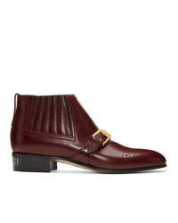 Bottines en cuir bordeaux Gucci