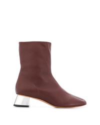 Bottines en cuir bordeaux Marni