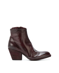 Bottines en cuir bordeaux Officine Creative