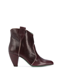Bottines en cuir bordeaux Paola D'arcano