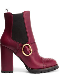 Bottines en cuir bordeaux Prada