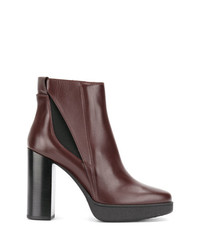 Bottines en cuir bordeaux Tod's