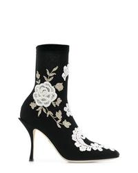 Bottines en cuir brodées noires et blanches Dolce & Gabbana