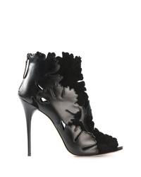 Bottines en cuir découpées noires Alexander McQueen