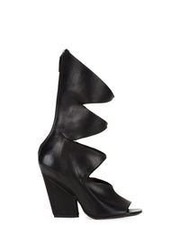 Bottines en cuir découpées noires Marsèll