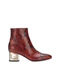Bottines en cuir imprimées serpent bordeaux Coliac