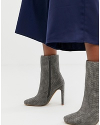Bottines en cuir imprimées serpent grises Missguided