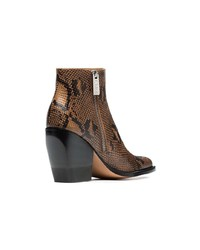Bottines en cuir imprimées serpent marron Chloé
